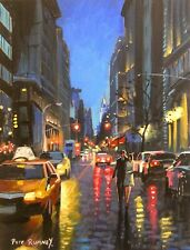 Pete Rumney Art Painting Walking Down Madison Avenue NYC New York City Chrysler