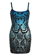 Needle & Thread Blue Nude Black Sequin Embellished Dress 10