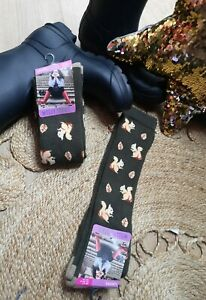 FUN NOVELTY GREEN SQUIRREL LONG WELLY BOOT SOCKS 1 Pair Warm Cosy Soft Size4-7