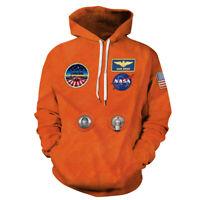 Vintage Anniversary NASA Space Suit Logo Men Hoodies Jackets Shirts Orange S-5XL