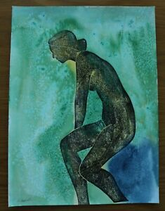 MICHAEL HASWELL - SEATED NUDE ON A GREEN WASH - MODERN BRITISH ARTIST