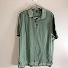 Izod Mens Golf Sz M Green White Polo Half Button Shirt 100% Cotton