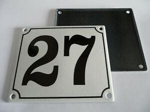 Old German White Enamel Porcelain Metal House Door Number Street Sign / Plate 27