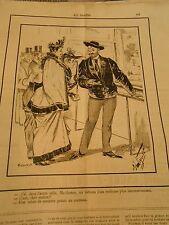 Caricature 1891 - Tableau réalisme Une scène de meutre peinte au Couteau