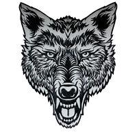 VEGASBEE® BIG LONE WOLF HEAD REFLECTIVE EMBROIDERED PATCH BIKER JACKET VEST USA