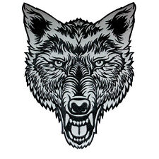 VEGASBEE® HUGE LONE WOLF HEAD TATTOO REFLECTIVE EMBROIDERED PATCH BIKER JACKET