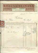 Alte Rechnung 1913 aus Prag, Kraus & Reimann, Rauchrequisiten  (D13)