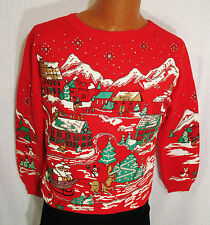 Vintage Ugly Christmas Sweater Sweatshirt Red Puff Screen Print Glitter S or M