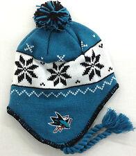 NHL San Jose Sharks Reebok Womens Aviator Pom Knit Hat Beanie Cap With Tassels