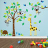 Monkey Tree Birds Animal Nursery Jungle Children Art Wall Stickers Wall Decals