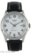 Casio Mens MTP1183E-7B Genuine Leather Casual Classic Dress Watch White Dial NEW