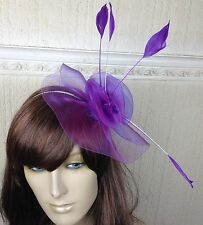 purple netting feather hair headband fascinator millinery wedding hat ascot race