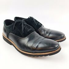 KENNETH COLE Mens Heart Knob Black Suede Leather Lace Up Oxford Shoes Sz 11 M