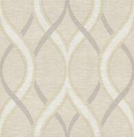 Wallpaper Designer Beige Cream Gray Modern Wavy Large Wavy Ogee Trellis