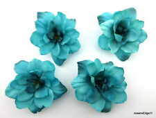 """Four 2.5"""" Turquoise Apple Blossom Silk Flower Hair Clip Lot,Pin Up,Updo,Party"""