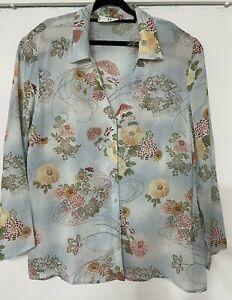 BIB Top Plus Size 24 Button up Blouse Shirt 3/4 Sleeve Womens/Ladies sheer flora