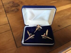 British Airways Air France Concorde Cufflinks and Pin Badge set Boxed