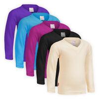 Girls Boys Classic V-neck Cosy Fleece Sweatshirt Children Top Sweater Jumper