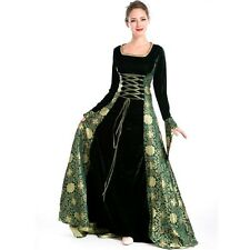 Renaissance Medieval Game Thrones Green Black Dress Corset Satin Costume Tudor
