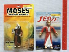 Moses w/ Stone Tablets & Staff & Bendable Poseable Jesus Action Figure LOT New