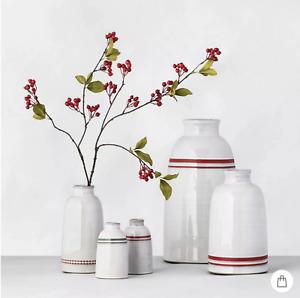 Hearth & Hand with Magnolia Double Stripe Stoneware Vase set of 2