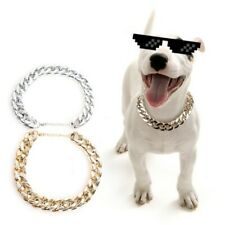 Pet Dog Cool Silver/Gold Chain Collar Curb Cuban Link Puppy Cat Choker Necklace