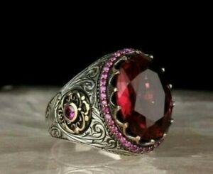AAA QUALITY STERLING 925 SILVER LADIES JEWELRY RED RUBY MEN'S RING