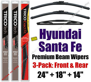 Wipers 3pk Premium Front Special Rear fit 2007-12 Hyundai Santa Fe 19240/180/14A