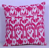 "16"" PINK IKAT KANTHA QUILTED CUSHION COVER HOME DECOR PILLOW CASE INDIA HANDMADE"