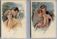 Lotto 2 cartoline Amanti Donnine Liberty Glamour Lovers PC Circa 1910 2