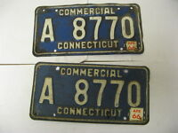1966 66 Connecticut CT License Plate Commercial A 8770 Pair