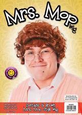 Mens Women Mrs Mop Wig & Glasses Granny Brown Browns Boys TV Fancy Dress Grandma