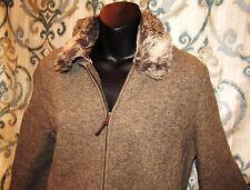 JONES NEW YORK Women's Small Lambswool Coat Jacket  Faux-Fur Collar Earth Brown
