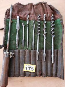 Vintage auger bit set With Pouch Wallet Inc James Swan, Mainbor & Lawson Heaton