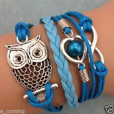 Girls Charm Bracelet Infinity Owl Pearl Heart Friendship Leather Gift Wholesale