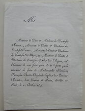 DUCHESSE D'ESCARA, D'ABZAC, HERACLE DE POLIGNAC, FAIRE PART ORIGINAL DECES, 1819