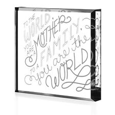 """""""To The World, You Are A Mother"""" Clear Acrylic Engraved Paperweight Keepsake"""