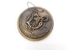 John Deere Happy Holidays Reindeer Christmas Medallion Ornament 1995