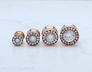 SIMULATED DIAMOND ROSE GOLD 316L S/S SCREW FLESH TUNNEL PLUG SPACER EARLET