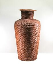 Tall Wicker Rattan Floor Vase Woven Brown Flower Vase