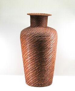 Floor Vase Tall Wicker Rattan Woven Brown Flower Vase Autumn Fall Decor