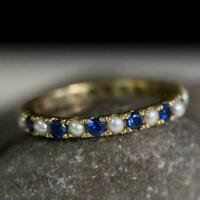 1CT Round Cut Pearl & Sapphire Womens Eternity Band Ring 14k Yellow Gold Over