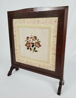 Antique Victorian Mahogany Needlepoint And Tapestry Fireplace Screen Vintage