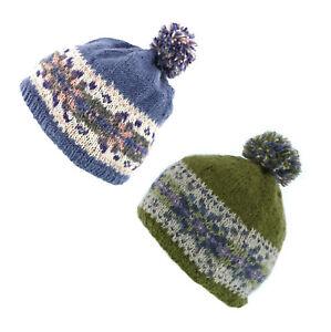 Pachamama 100% Wool Inishmore Bobble Hat Olive or Jacaranda Blue