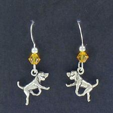 American Foxhound Earrings, Beautiful, .925 sterling silver Swarovski Accent