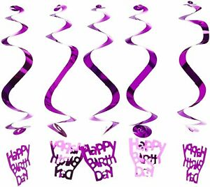 5x Swirls Happy Birthday Hanging Banner Party Decoration Partyware Bunting Fun