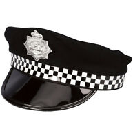 POLICEMAN HAT CAP CHECK BAND BOBBY COPS FANCY DRESS COSTUME