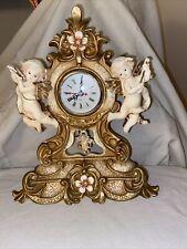 Twin Baby Cherubs Musical Angels Antique Style Ceramic Desk Shelf Quartz Clock
