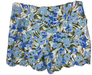 REVIEW Designer Floral Scallop Hem Shorts Size 8