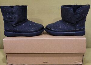 New UGG Australia Keelan Black Glitter Boots Toddlers US 6 EU 22 Quick Release
